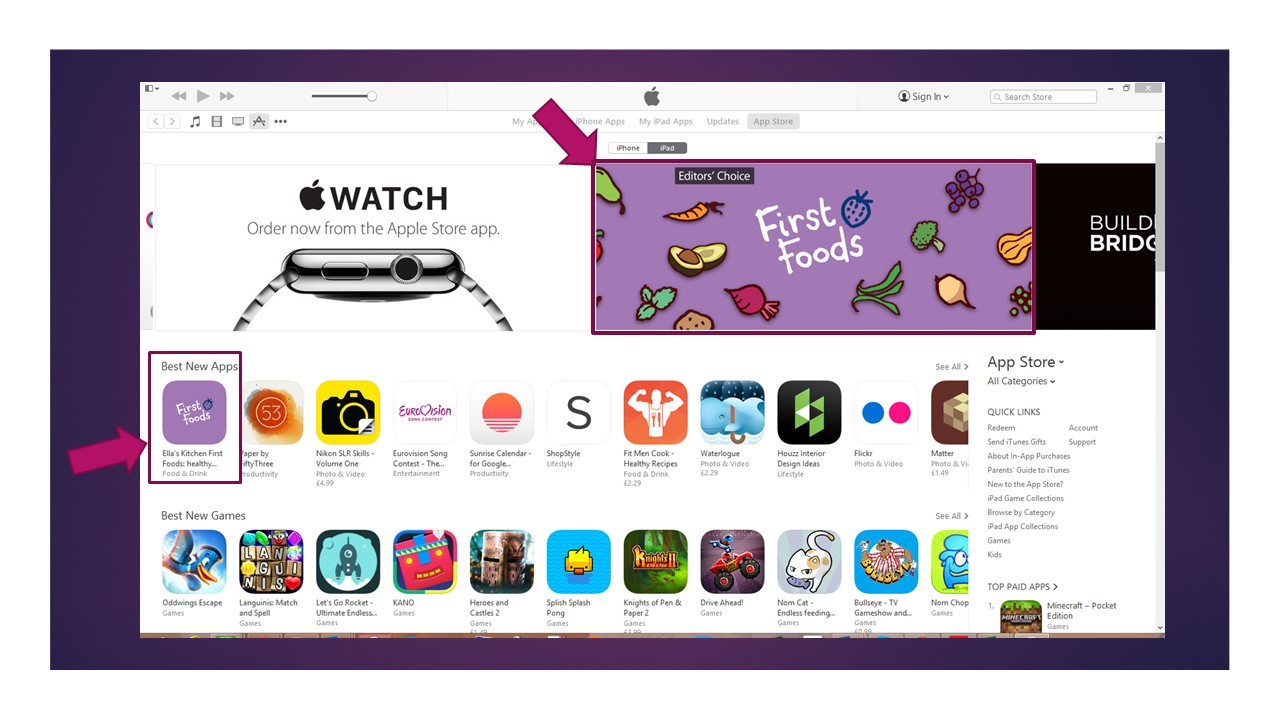 Ella's Kitchen First Foods app featured on Apple iTunes Editor's Choice